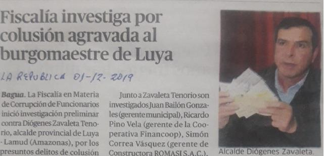 Fiscalía investiga por colusión agravada a burgomaestre de Luya