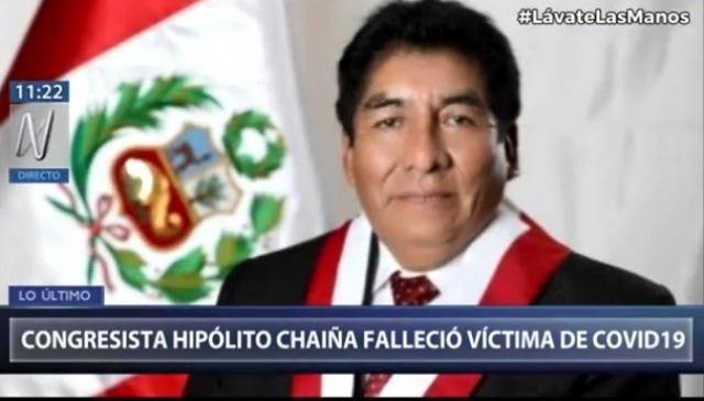 Congresista Hipólito Chaiña falleció por COVID-19 en Arequipa