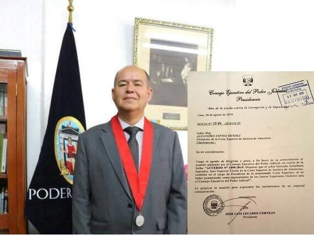 Consejo Ejecutivo del Poder Judicial indica que el Magistrado Gonzalo Zabarburú es el Presidente de la Corte Superior de Justicia de Amazonas