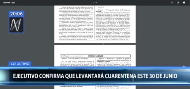 Gobierno levantará la cuarentena a partir del 1 de julio pero mantendrá el toque de queda