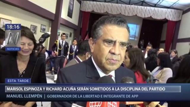 Llempén: APP someterá al Comité de Disciplina a Richard Acuña y Espinoza