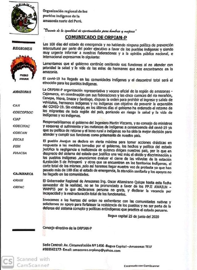 Anuncian movilización en Imaza y Condorcanqui por desatención del Gobierno Central