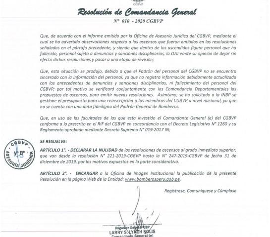 Declaran Nulidad a las resoluciones de Ascensos de los Bomberos a nivel nacional