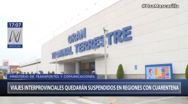 Viajes interprovinciales terrestres y aéreos se suspenderán en regiones que retornaron a la cuarentena