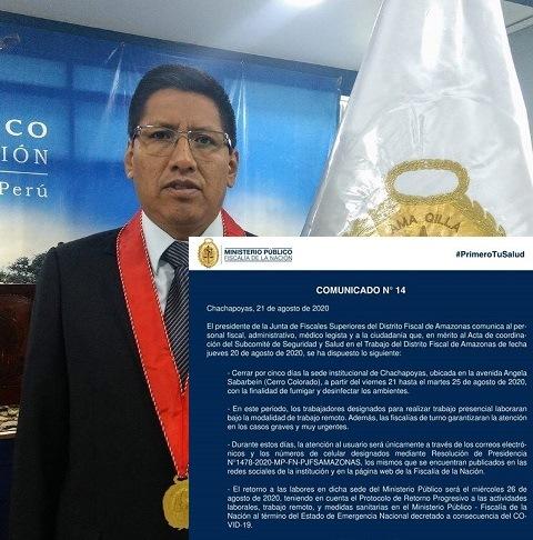 Debido a la gran cantidad de infectados por el Covid-19, Fiscalía de Amazonas cierra su local de Cerro Colorado en Chachapoyas