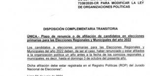 Afiliación de candidatos a Elecciones del 2022 será hasta el 03 de octubre