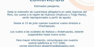 ATSA Airlines reiniciará vuelos desde Lima a Chachapoyas