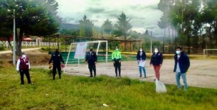 El Ministerio Público de Amazonas y el Cté. prov. de Seguridad Ciudadana de Luya, colocaron carteles sobre la prohibición del juego de contacto