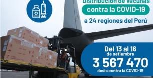 Minsa distribuye más de 3 560 000 dosis de la vacuna contra la COVID-19 a las regiones del Perú