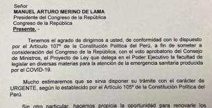 Poder Ejecutivo pide facultades legislativas al Congreso 'en atención de la emergencia sanitaria'